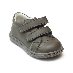 L'Amour Boys Khaki Double Strap Leather Sneaker - Babychelle.com