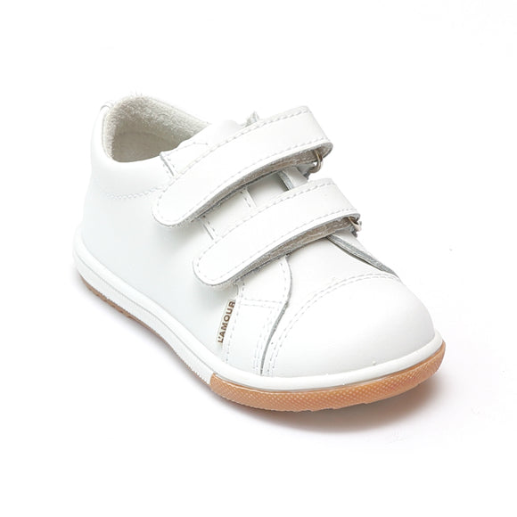 L'Amour Girls White Double Velcro Leather Sneaker - Babychelle.com