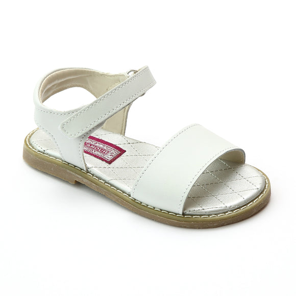 L'Amour Girls Open Toe Strap White Leather Sandal - Babychelle.com