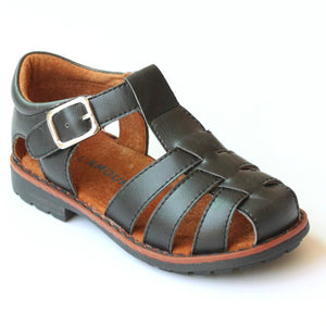 L'Amour Boys Lug Black Leather Fisherman Sandal