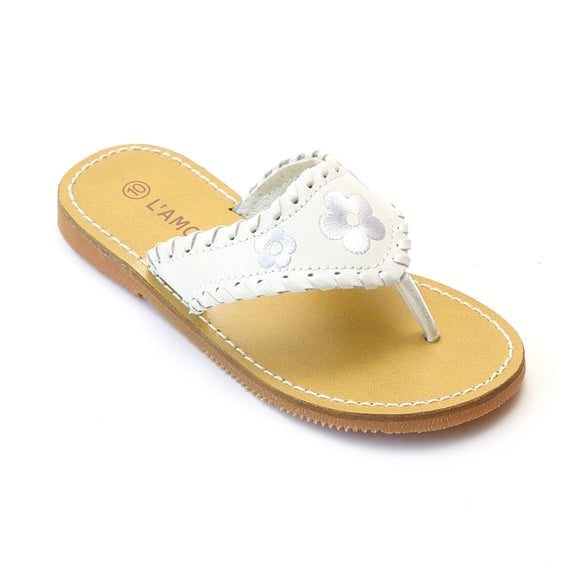 L'Amour Girls White Whipstitched Thong Sandal - Babychelle.com