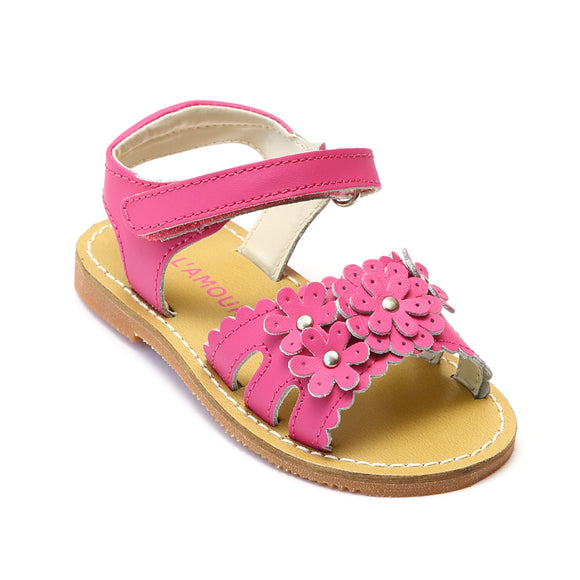 L'Amour Girls Fuchsia Scalloped Open Toe Sandal - Babychelle.com