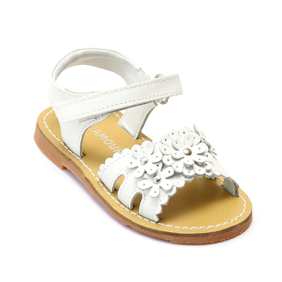 L'Amour Girls White Scalloped Open Toe Sandal - Babychelle.com