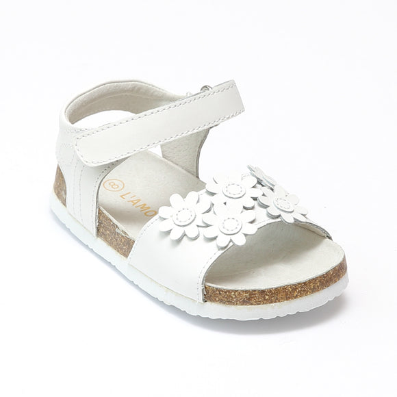L'Amour Girls White Flower Medley Cork Sandals - Babychelle.com