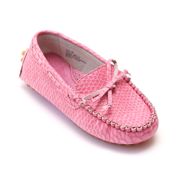 9ce42468eb2 L Amour Girls Lizard Embossed Leather Moccasins - Babychelle.com