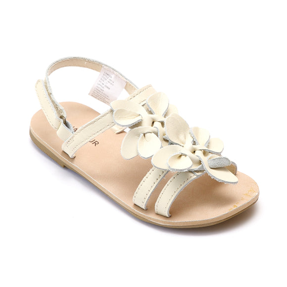 L'Amour Girls Cream Flower Blossom Triple Strap Sandal - Babychelle.com
