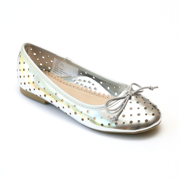 L'Amour Girls Silver Perforated Ballet Flats - Babychelle.com