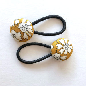 Rachel Mustard Floral Liberty of London Set of Button Hair Ties for Pigtails - Babychelle.com