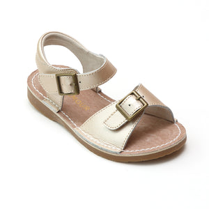 Products L'Amour Girls Olivia Buckled Open Toe Leather Sandals Title  L'Amour Girls Olivia Champagne Buckled Open Toe Leather Sandals - Babychelle.com