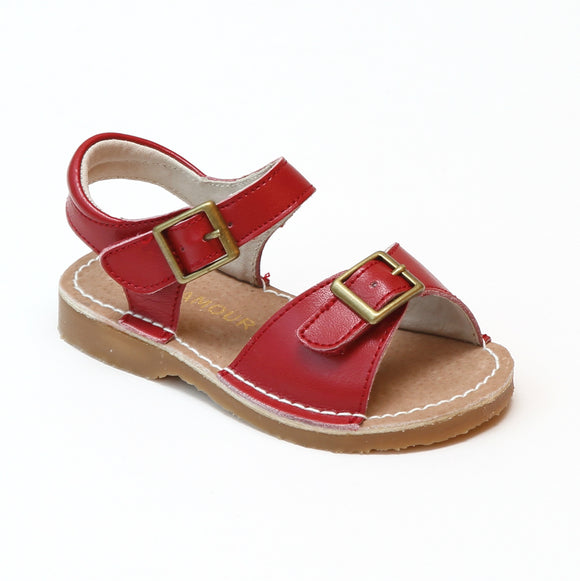 L'Amour Girls Olivia Red Buckled Open Toe Leather Sandals - Babychelle.com