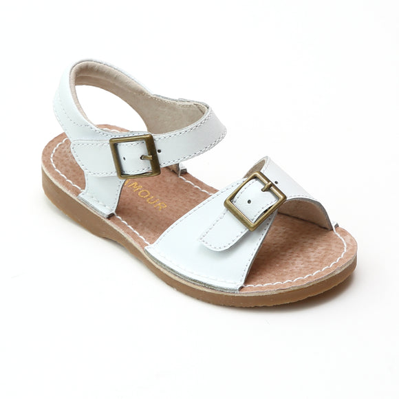 L'Amour Girls Olivia White Buckled Open Toe Leather Sandals - Babychelle.com