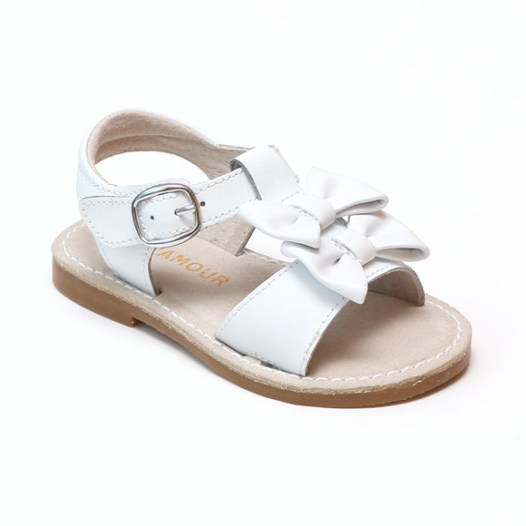L'Amour Girls Serena White Double Bow Open Toe Leather Sandals - Babychelle.com