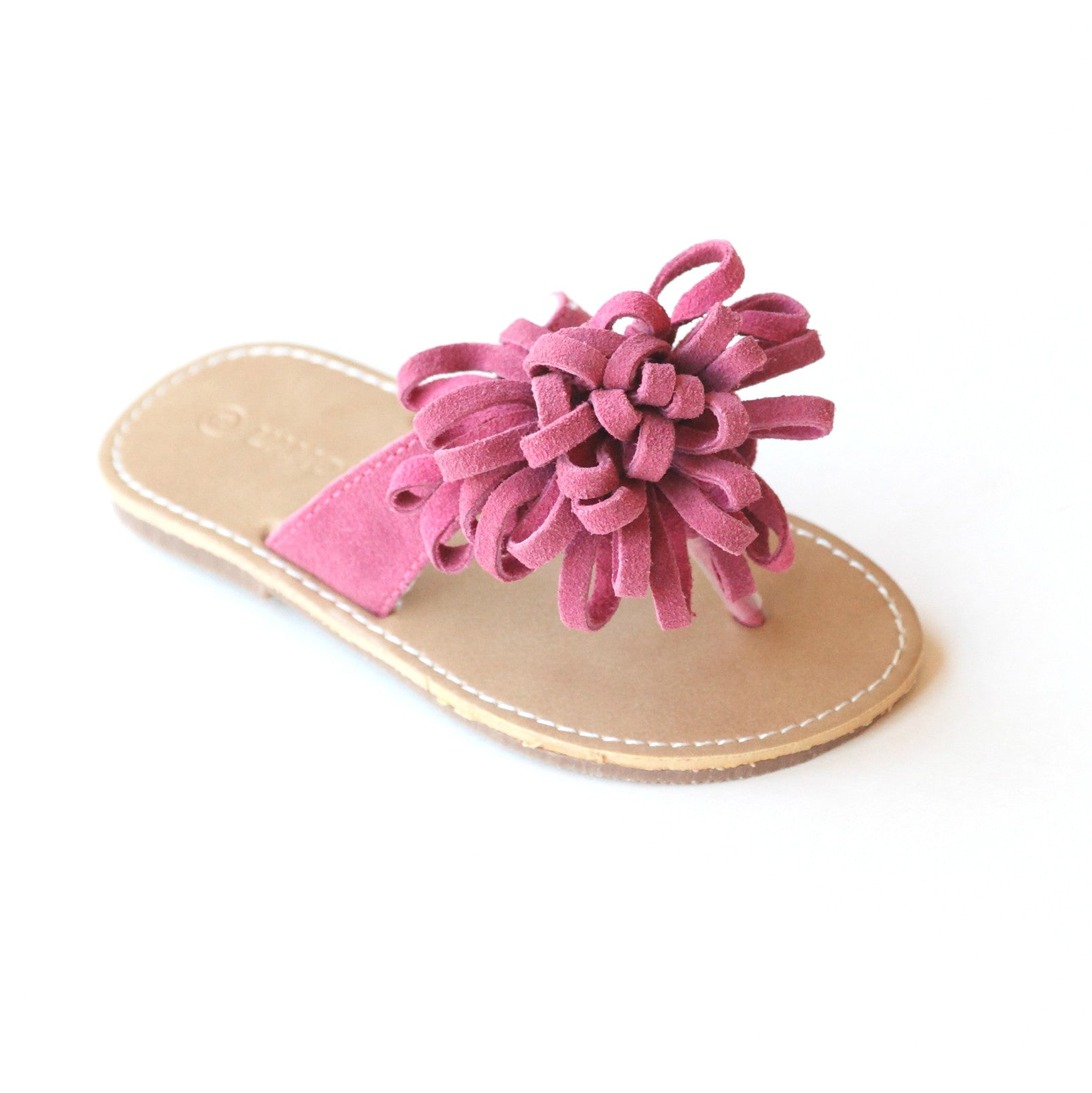 d224c25bd L Amour Girls Leather Pom Pom Thong Sandal – Babychelle