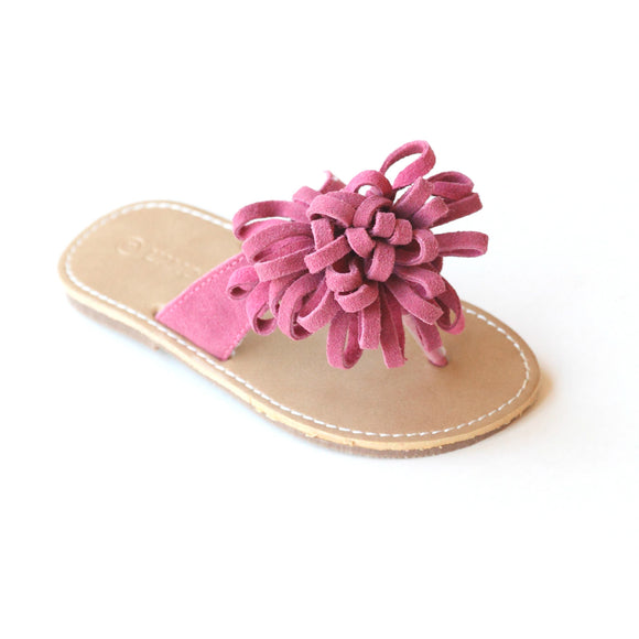 L'Amour Girls Fuchsia Leather Pom Pom Thong Sandal