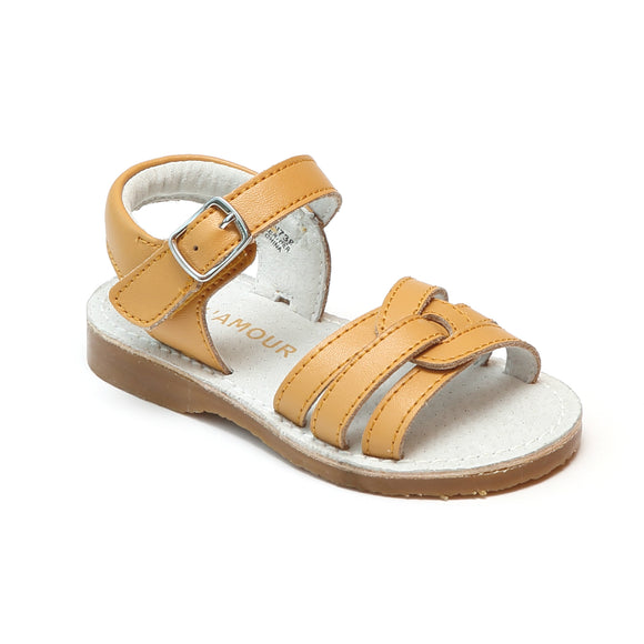 L'Amour Girls Peyton Mustard Braided Loop Leather Sandals - Babychelle.com
