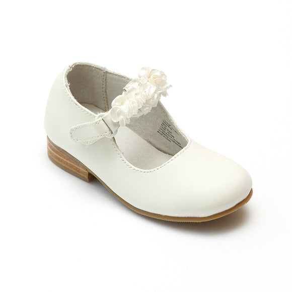 L'Amour Flower Girls White Flat with Rosettes - Babychelle.com
