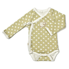 Babymio Ivory 100% Organic Cotton Long Sleeve Kimono Onesie (White Polka Dot)