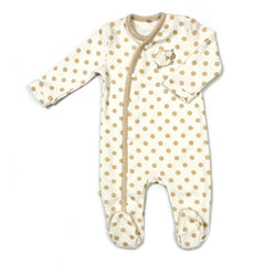 Babymio 100% Organic Cotton Long Sleeve Romper in Beige Dot