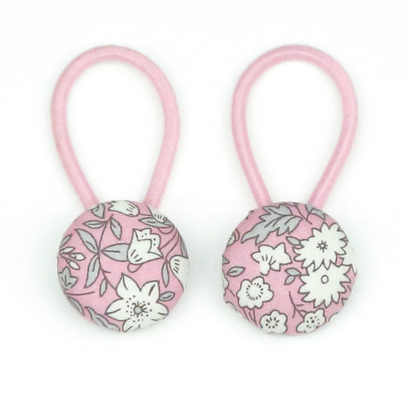 Gracie Liberty of London Set of Button Hair Ties In Pink for Pigtails and Buns - Babychelle.com