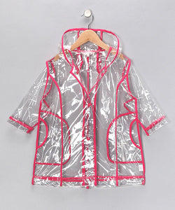 Pluie Pluie Girls R2C - FU Transparent Rain Coat in Fuchsia Trim