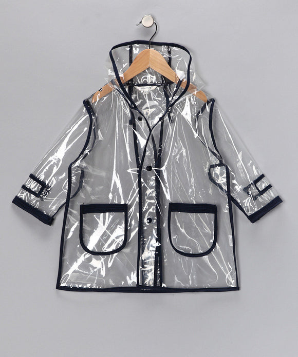 Pluie Pluie Boys R2C - NY Navy Transparent Rain Coat