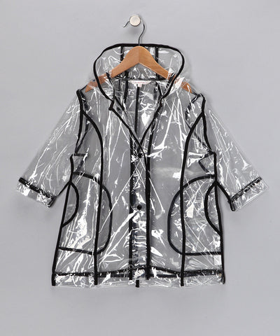 Pluie Pluie Girls R2C - BK Transparent Rain Coat in Black Trim