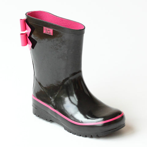 Pluie Pluie Girls Double Bow Black Rain Boots