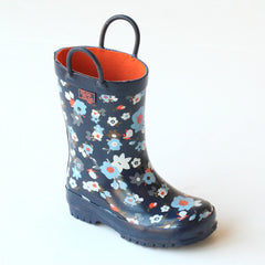 Pluie Pluie Girls RB - NY Navy Flower Rain Boots