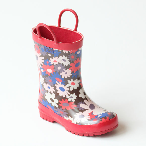 Pluie Pluie Girls RB - BF Brown Flower Rain Boots