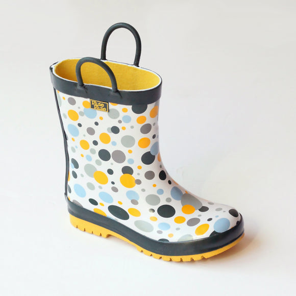 Pluie Pluie Girls Three Tone Multi Dot Rain Boots