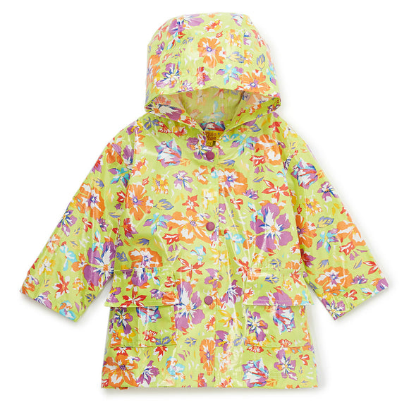 Pluie Pluie Girls RC - Lime Flower Rain Coat