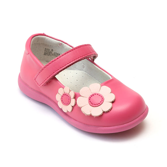 L'Amour Girls Fuchsia Flower Power Sporty Mary Janes - Babychelle.com