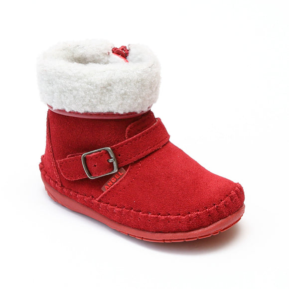 Angel Baby Girls Red Fleece Lined Ankle Boot - Babychelle.com