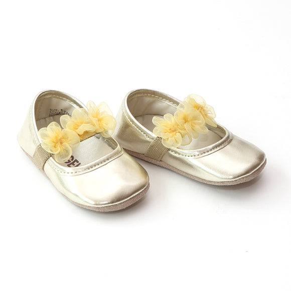 L'Amour Infant Girls Gold Organza Flower Crib Shoe - Babychelle.com
