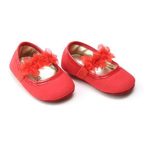 L'Amour Infant Girls Red Organza Flower Crib Shoe - Babychelle.com