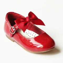 L'Amour Girls Red Grosgrain Bow Flat