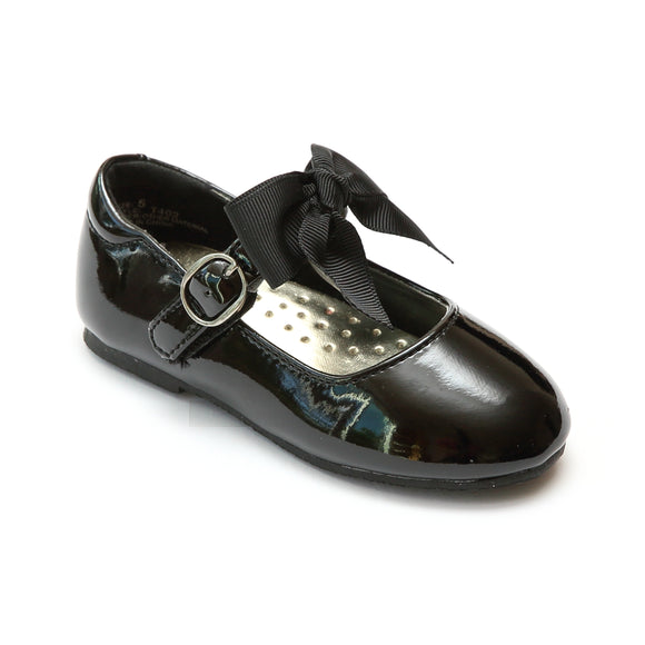 L'Amour Girls Black Grosgrain Bow Flat - Babychelle.com
