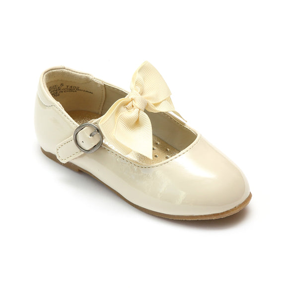 L'Amour Girls Patent Cream Grosgrain Bow Flat - Babychelle.com