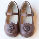 L'Amour Girls Brown Double Layer Petal Flower Mary Janes