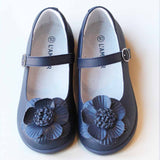 L'Amour Girls Navy Double Layer Petal Flower Mary Janes