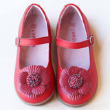 L'Amour Girls Red Double Layer Petal Flower Mary Janes