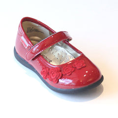 L'Amour Patent Red Mary Jane with Suede Flowers