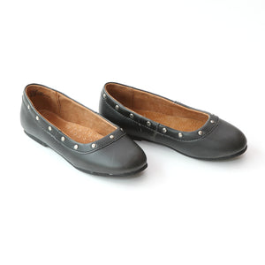 L'Amour Girls Round Studded Black Flats - Babychelle.com