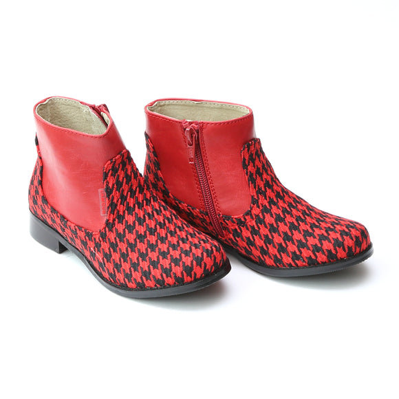 L'Amour Girls Two Toned Red Houndstooth Ankle Boot - Babychelle.com