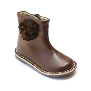L'Amour Girls Brown Leather Boot with Flower - Babychelle.com