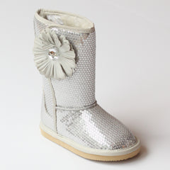 L'Amour Girls Silver Sequin Flower Boot