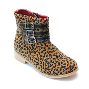 L'Amour Girls Triple Buckle Accent Leopard Ankle Boot - Babychelle.com