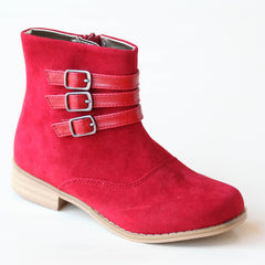 L'Amour Girls Red Triple Buckle Accent Ankle Boot