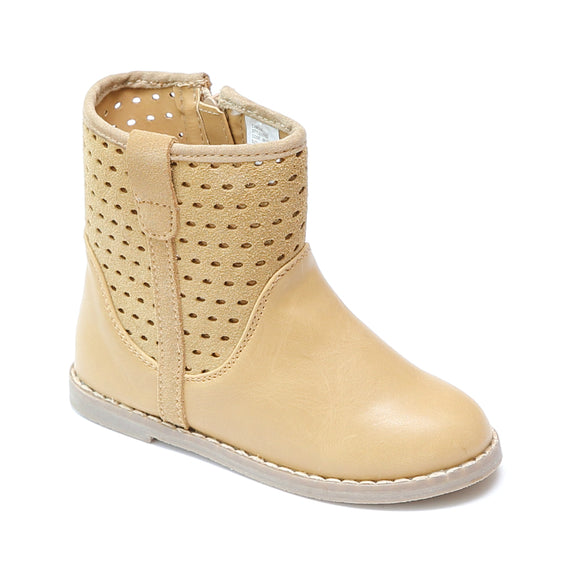L'Amour Sand Suede Perforated Ankle Boots - Babychelle.com