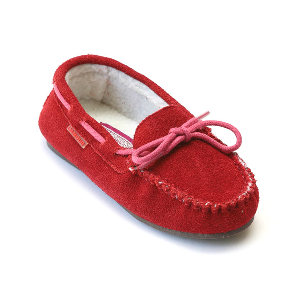 L'Amour Girls Red Suede Moccasin Loafer - Babychelle.com